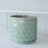 pastel blue daisy planter detail