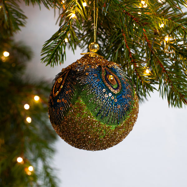 beaded peacock Christmas bauble