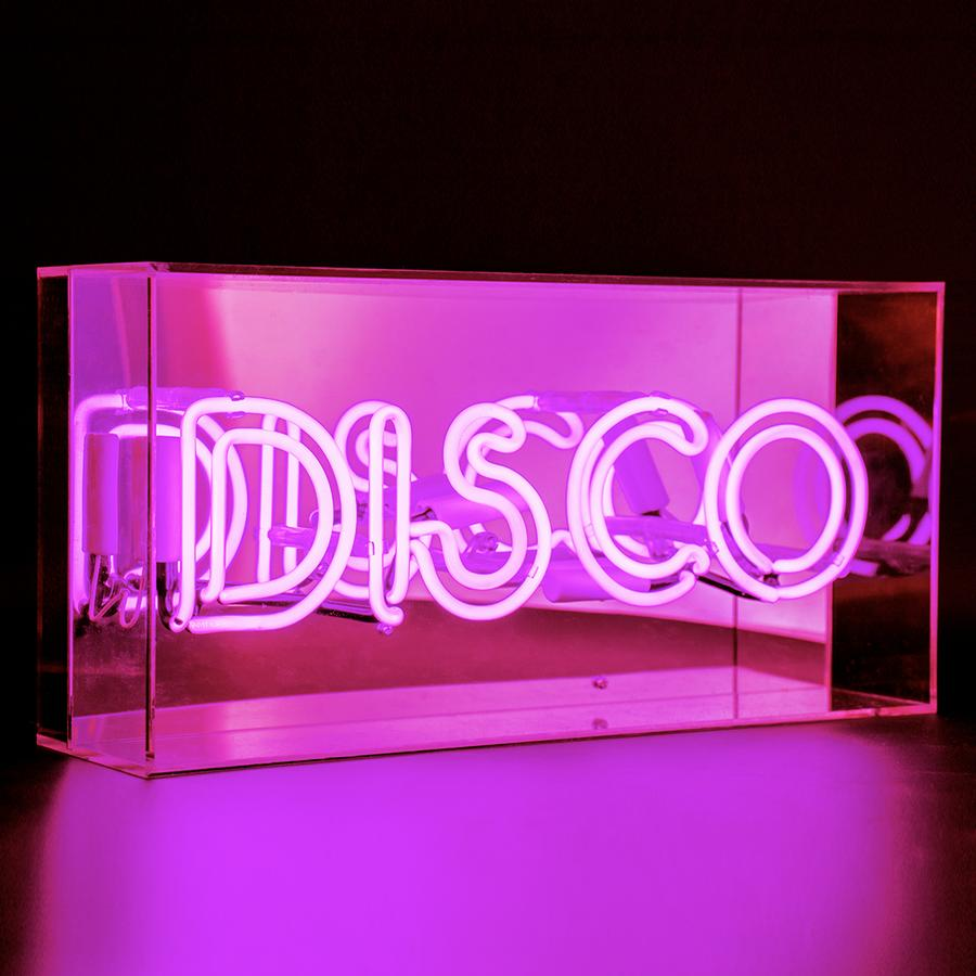 disco neon light box in pink