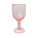 pink wine glass close up