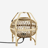 rattan table lamp close up