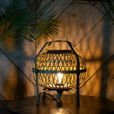 rattan table lamp exposed bulb