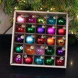 set of 25 mini baubles in a box