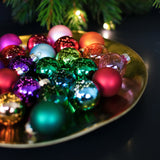 set of 25 mini baubles in matt and clear glass