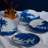 set of 4 dining plates with varying designs