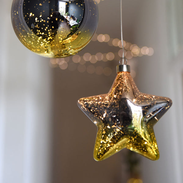gold glass star decoration