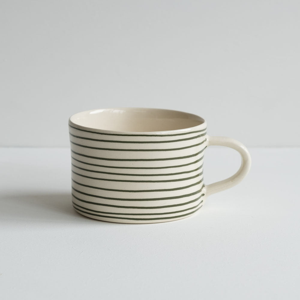 stoneware mug - moss green stripes