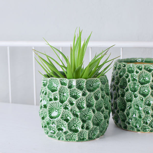 green stoneware plant pot cover