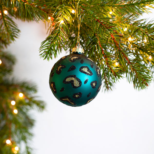 teal leopard print bauble
