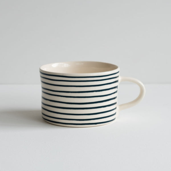stoneware mug with teal stripes
