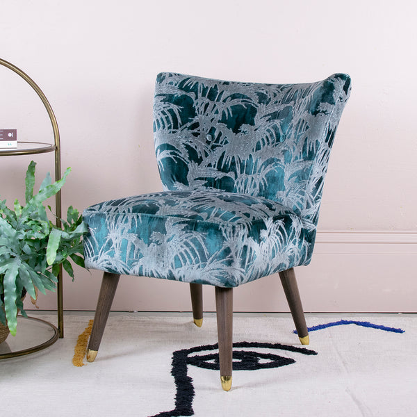 teal velvet cocktail chair