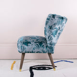 teal velvet cocktail chair details