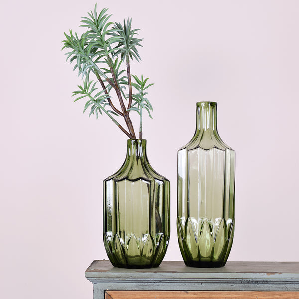 Green Bottleneck Vases