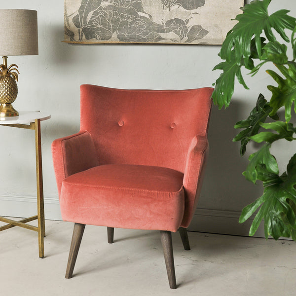 vintage style coral velvet armchair