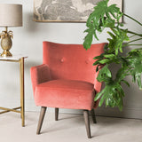 vintage style coral velvet armchair detail