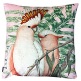 pink velvet cockatoo cushion close up