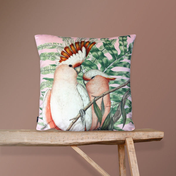 pink velvet cockatoo cushion