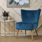 teal velvet cocktail chair front