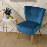 teal velvet cocktail chair detail