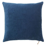 blue velvet cushion close up