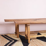 vintage oak bench close up