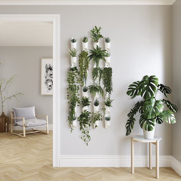 white wall vessel planter