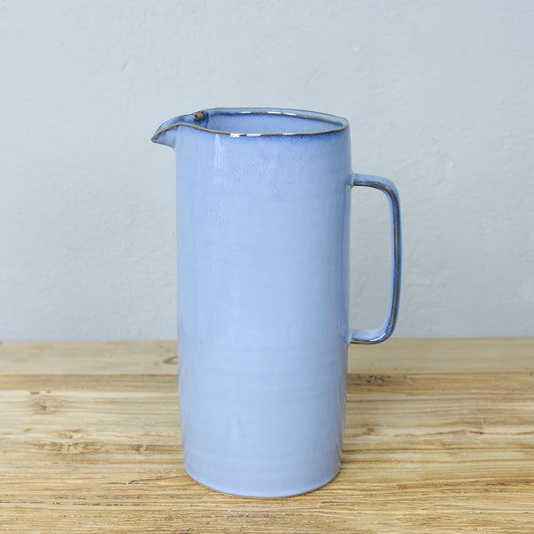 blue ceramic jug