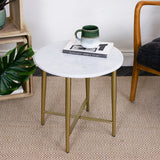 white marble side table with metal legs