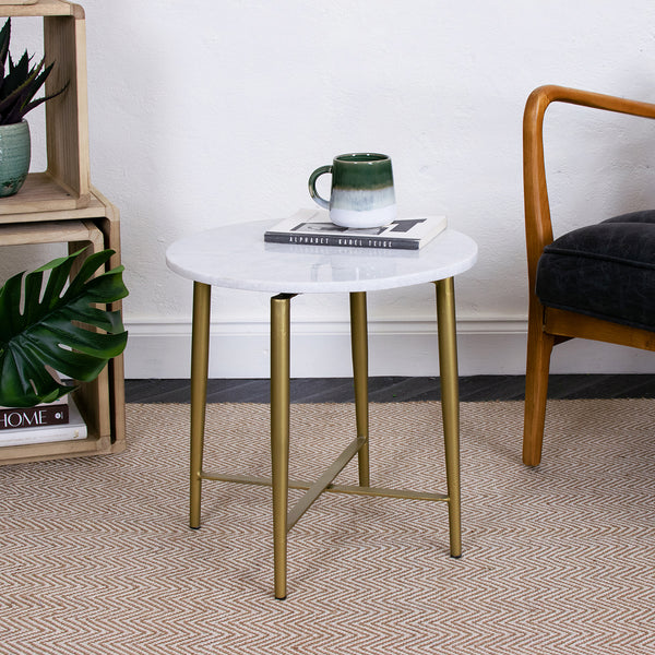 white marble side table