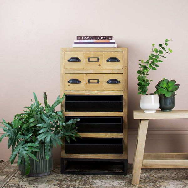 wood and metal storage cabinet