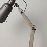 wood and metal table lamp detail