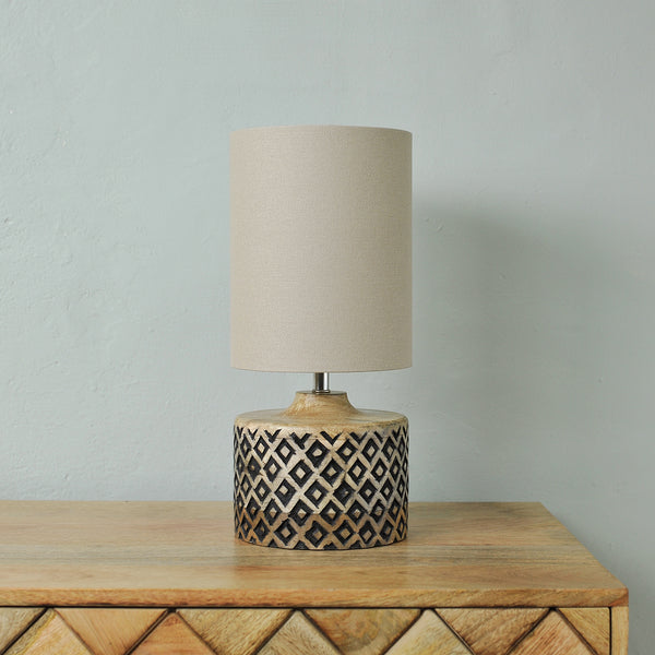 short wooden table lamp