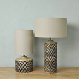 tall wooden table lamp display