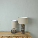 tall wooden table lamp detail
