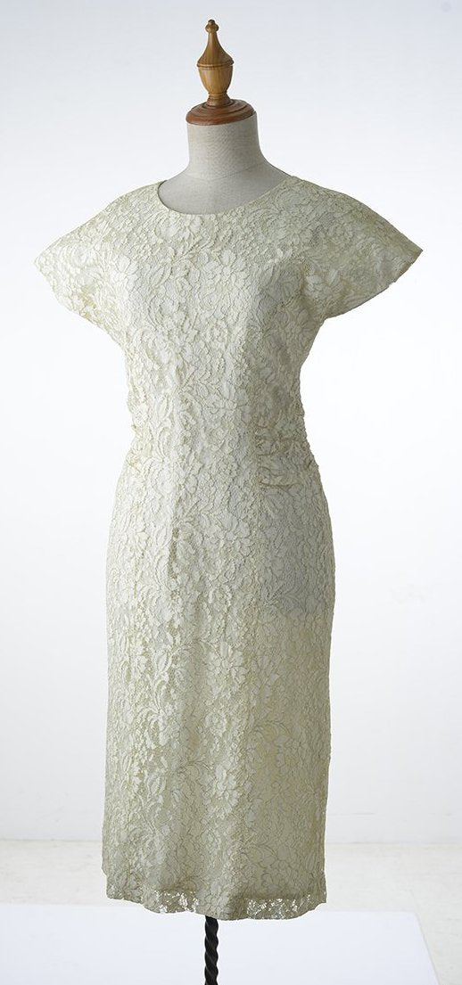 Ivory Low V-Back Lace Dress