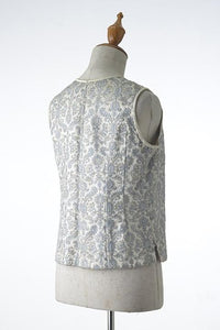 Lame Gold and Pastel Blue Brocade Vest