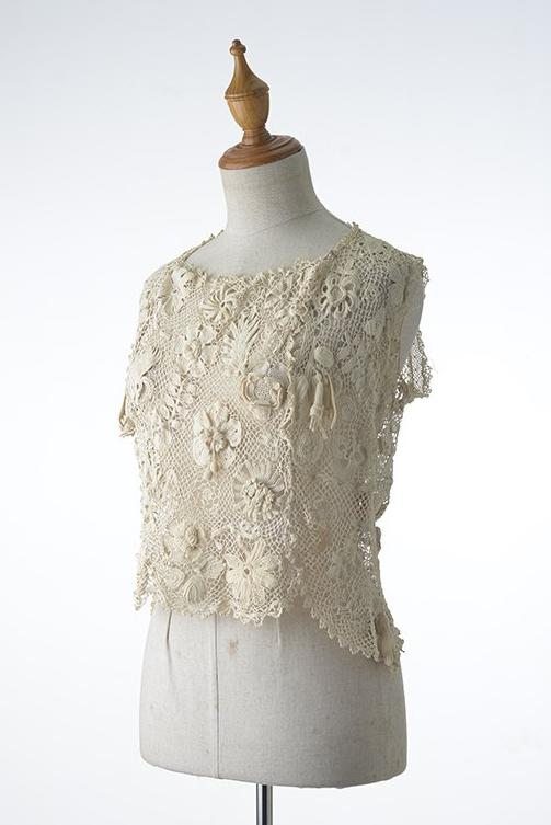 Beige Irish Crochet Sleeveless Top