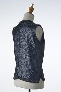 Black Sequin Sleeveless Top