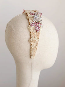 Antique Lace Sequin Headband - Vintage Fairy