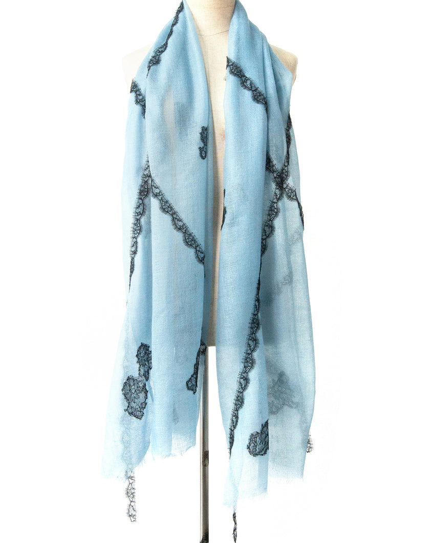 Criss Cross Blue Cashmere Lace Scarf