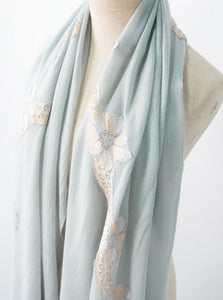 Nostalgia Pale Blue Wool Lace Scarf