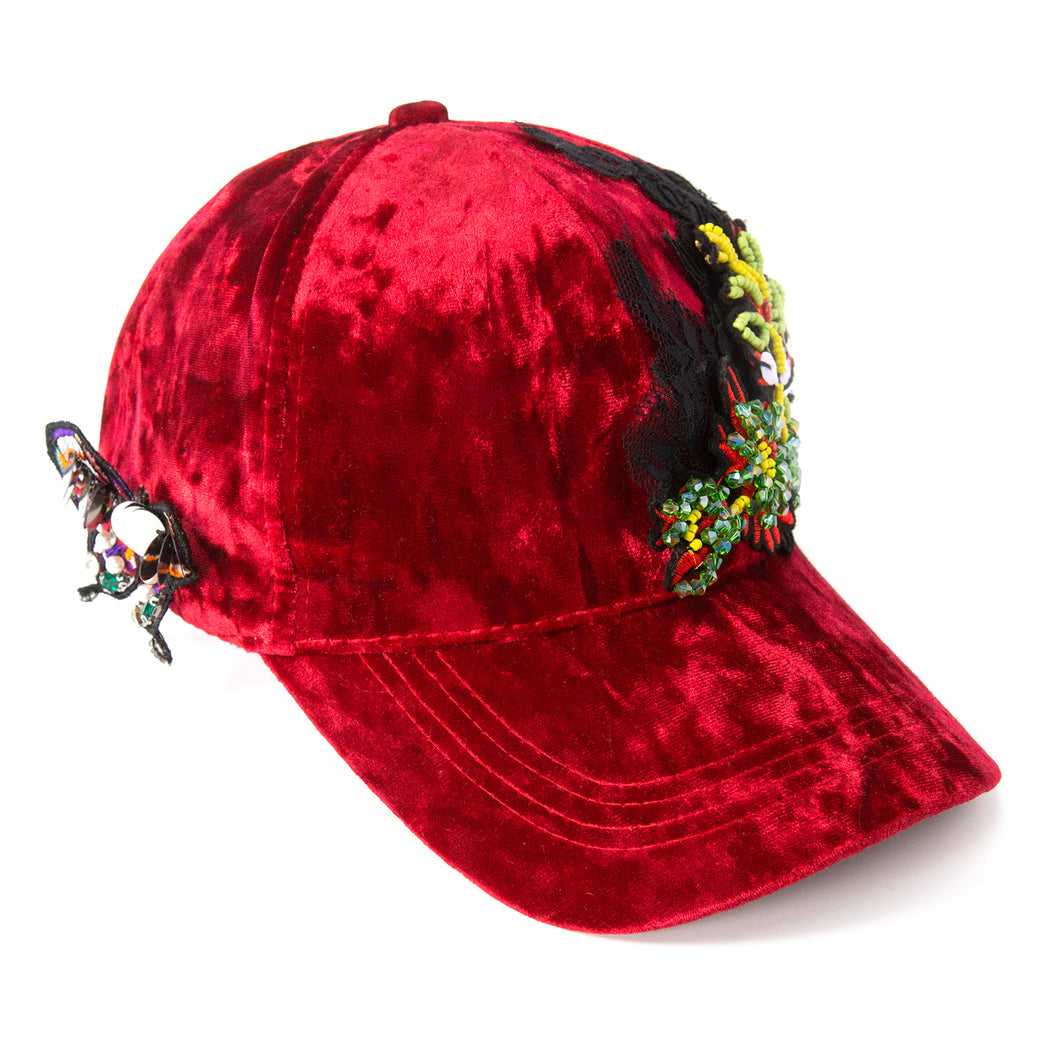 Diva Crushed Velvet Red Fairycap Baseball Cap