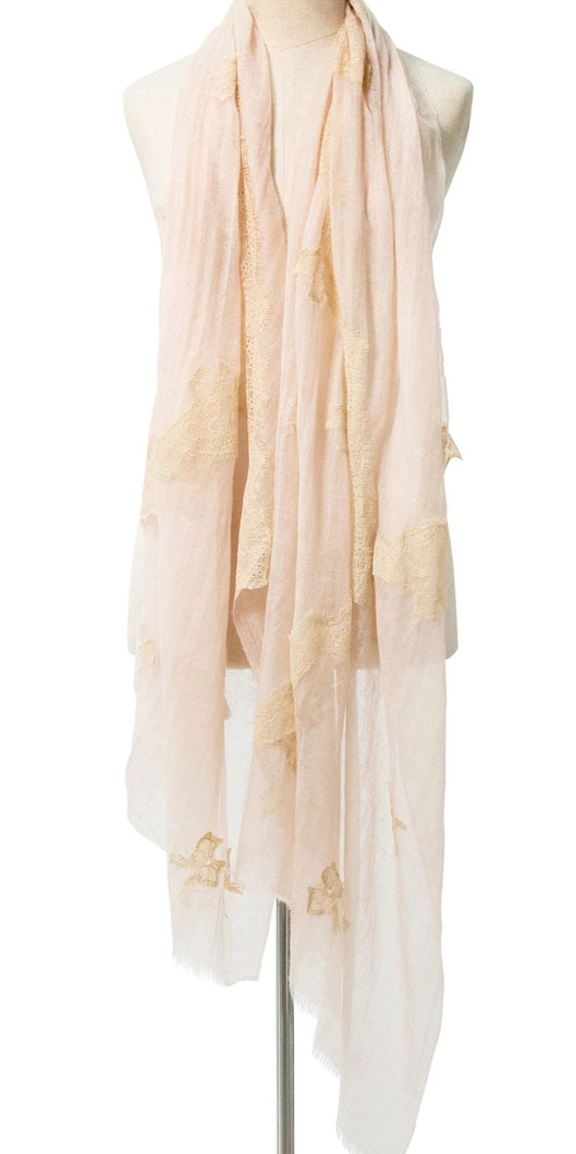 Pearls-en-Bows Pink Lace Scarf