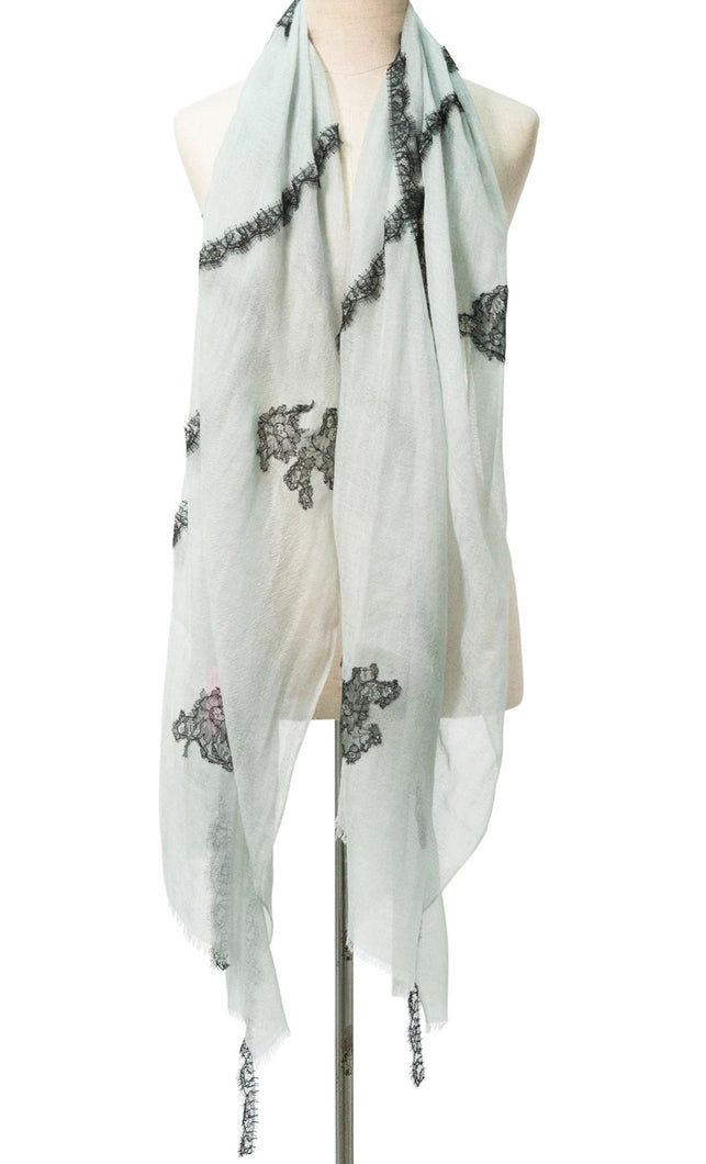 Criss Cross Grey Blue Cashmere Lace Scarf