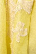 Pearls-en-Bows Lime Yellow Cashmere Lace Scarf
