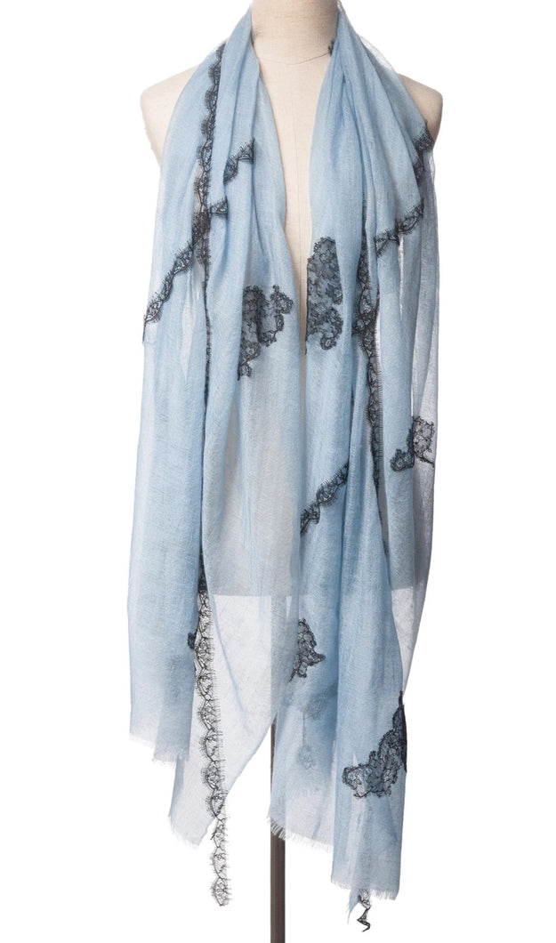 Criss Cross Dusty Blue Cashmere Lace Scarf