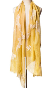 Pearls-en-Bows Honey Yellow Cashmere Lace Scarf