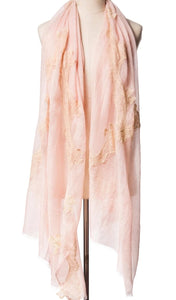Pearls-en-Bows Nude Pink Cashmere Lace Scarf