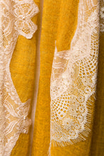 Pearls-en-Bows Golden Yellow Cashmere Lace Scarf