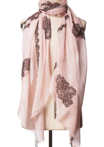 Criss Cross Light Pink Cashmere Lace Scarf
